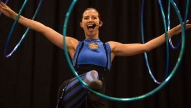 Professional hula hooper using the circus to spread anti-bullying message