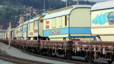 Why does Circus Roncalli travels by train?